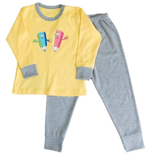 Пижама интерлок детская ребенок для девочек и мальчиков желтая длинный рукав трикотаж хлопок 100%  Украина