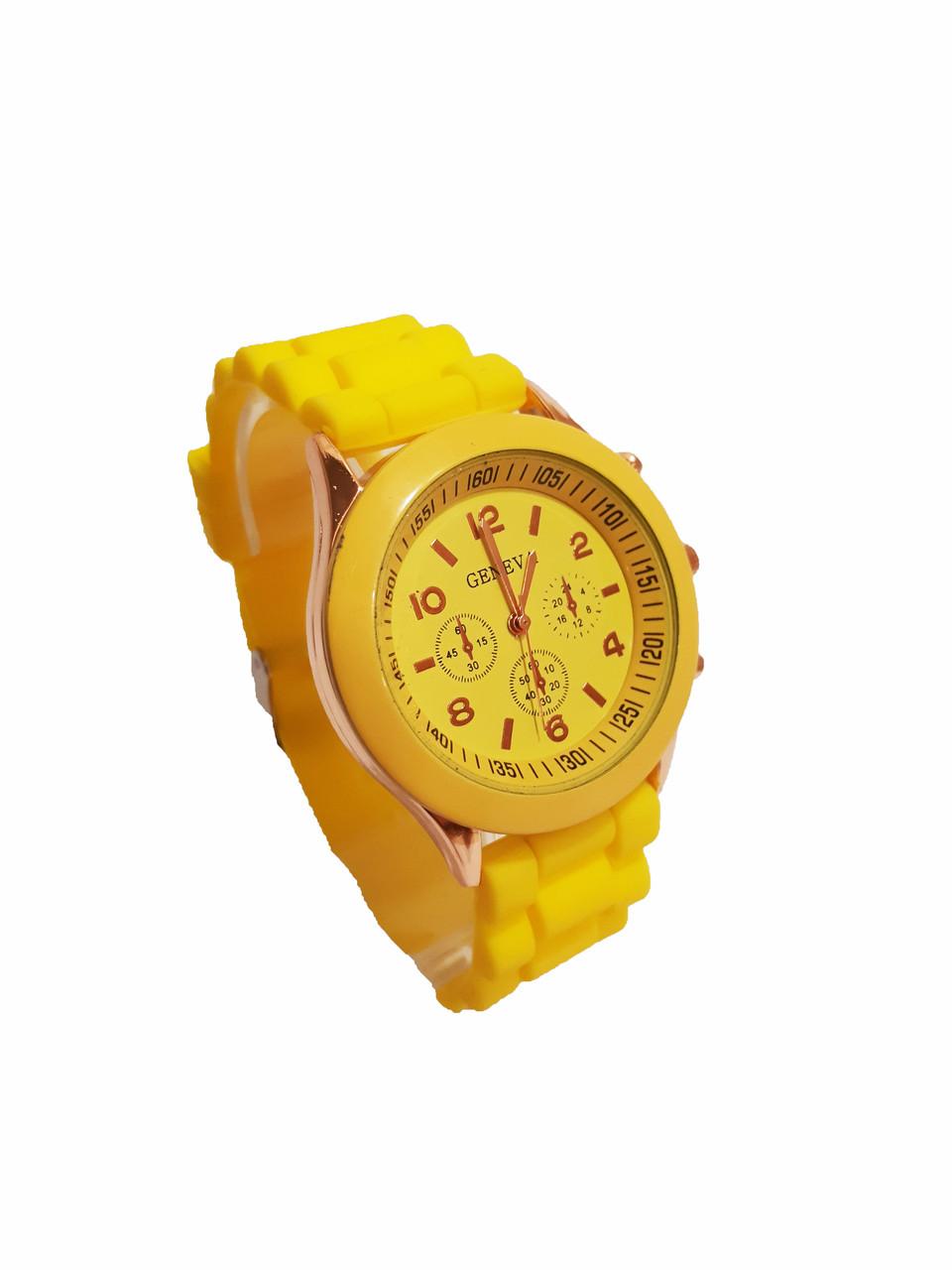 Часы кварцевые на силиконовом ремешке Geneva Желтый Желтый