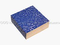 Универсальная новогодняя упаковка типа пенал - Синяя - 160х160х55 мм
