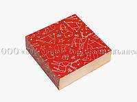Универсальная новогодняя упаковка типа пенал - Красная - 160х160х55 мм