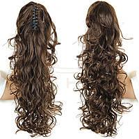 """Объемный волнистый хвост на заколке """"краб"""", шиньон, наращивание волос, длина - 50 см, вес - 200 г, цвет №6К"""