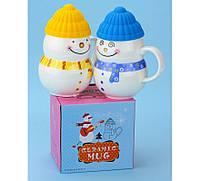 Кружка Снеговик (новогодняя чашка) желтая, зеленая, синяя, красная