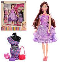 Кукла типа барби 29 см с нарядами платьями иаксессуарами - сумочка, клатч, обувь, в коробке30-34-15 см,8826
