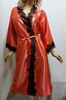 Атласный женский халат большого размера с французским кружевом, от 50 до 58 ра, Харьков, фото 3