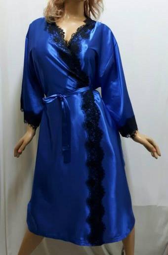 Атласный женский халат большого размера с французским кружевом, от 50 до 58 ра, Харьков