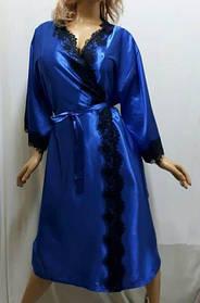 Атласный женский халат большого размера с французским кружевом, от 54 до 58 ра, Харьков