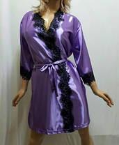 Женский короткий атласный халат с красивым французским кружевом , от 42 до 50 размера, фото 2