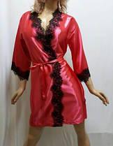 Женский короткий атласный халат с красивым французским кружевом , от 42 до 50 размера, фото 3