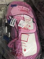 Коляска Adamex YOUNG розовый-белая кожа