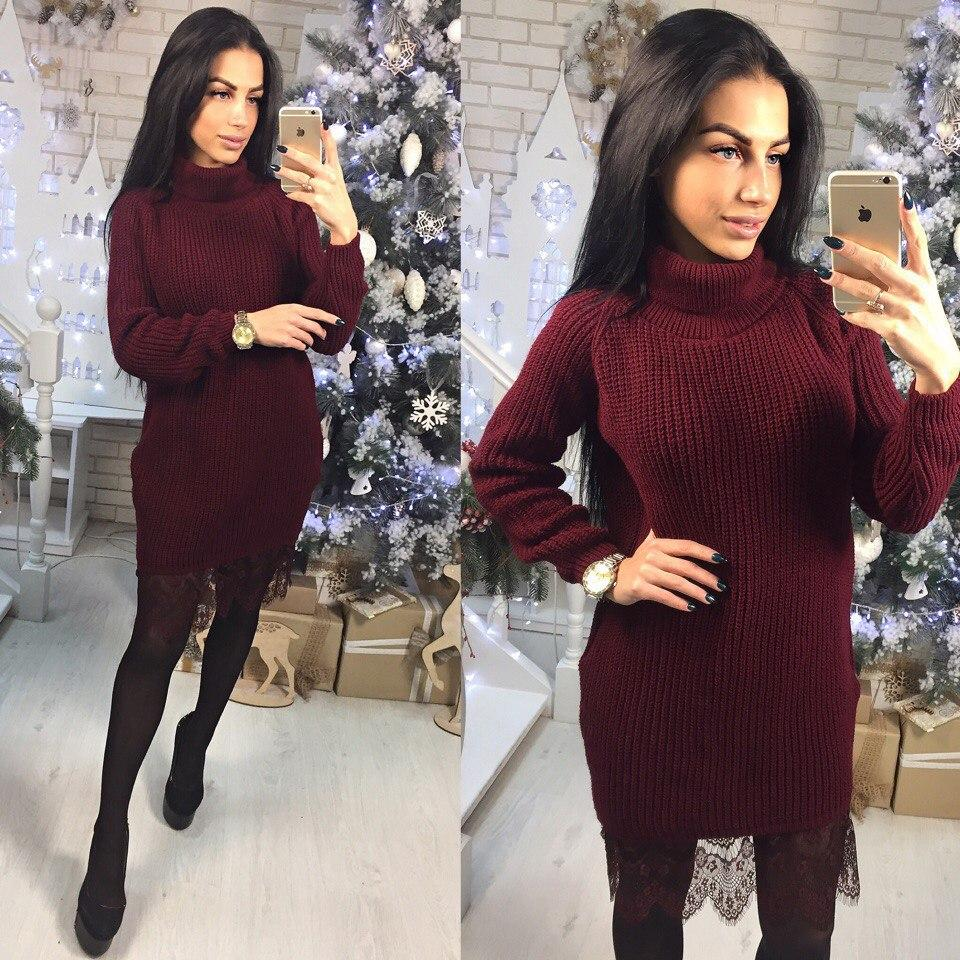 f589bf2a3b4 Купить Вязаное платье с кружевом по низу и высоким горлом 4103793 ...