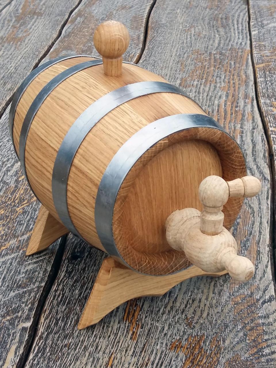 Дубовая бочка 1л для вина, коньяка, виски