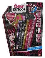 Набор для тату (фломастеры и трафареты) Monster High