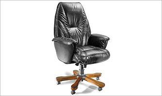 Кресло офисное руководителя классика БОНУС натуральная кожа коричневая