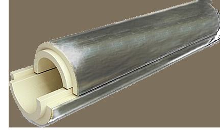 Скорлупа из пенополиуретана  фольгированная фоларом для теплоизоляции труб    Ø 725/40 мм, фото 2