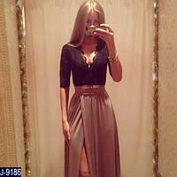 Нарядное женское длинное платье  с глубоким декольте черно-бежевого цвета . Арт - 18760