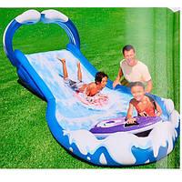 Детский надувной бассейн с горкой Intex
