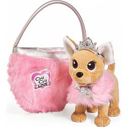 Собачка Simba Чихуахуа Фэшн Принцесса красоты в меховом манто с тиарой и сумочкой 5893126