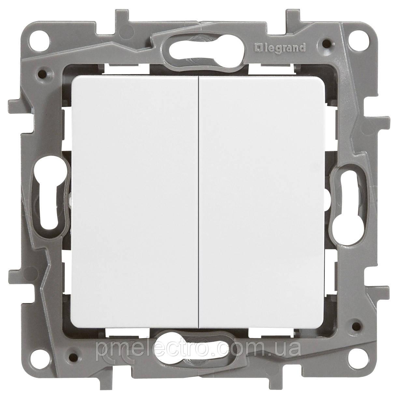 Выключатель 2-х клавишный Etika белый 672202