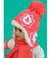Шапка Лилия зимняя с шарфом от 2-х до 8-ми лет Артикул 37.1055-2