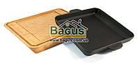 Сковорода чавунна порційна квадратна 180х180х25мм на дерев'яній підставці з виїмкою Brizoll Н181825-Д, фото 1