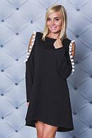 Трикотажное платье с бубонами черное