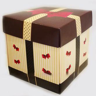 Упаковка для чашек из картона с крышкой (коричневый-бежевый)