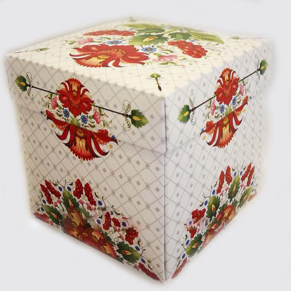 Упаковка для чашек из картона с крышкой (петриковский орнамент)