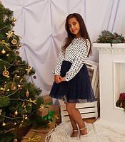 Детское платье Золушка р.122-140 белый+тёмно-синий