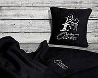 Плед и подушка декоративная - комплект, цвет на выбор
