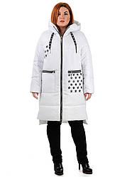 Женское пальто из плащевой ткани белое Ева