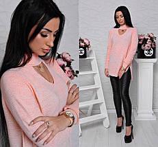 Тонкий вязаный свитер с чокером на шее, женские свитера оптом, фото 2