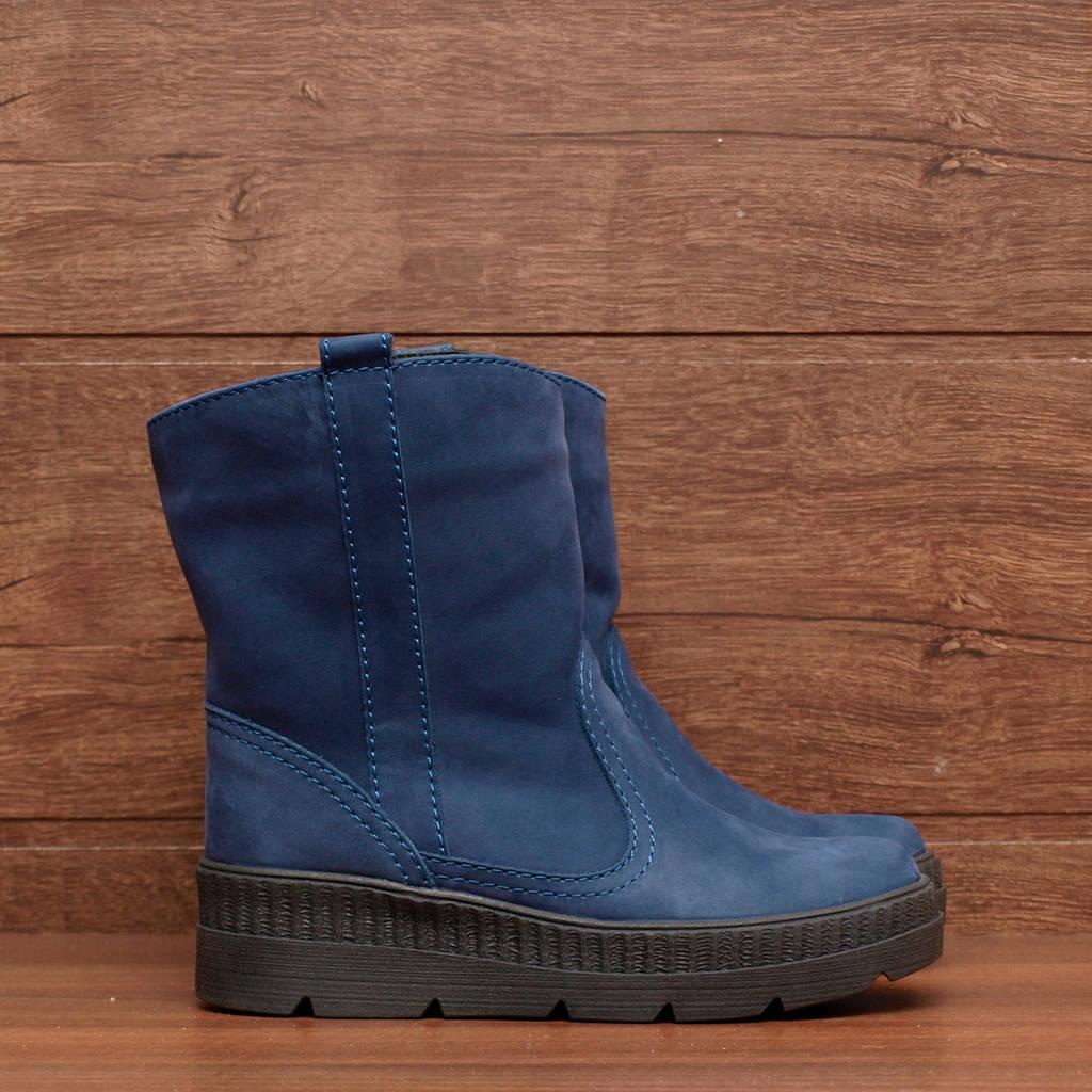 Ботинки женские зимние синие из нубука на платформе 37, 38