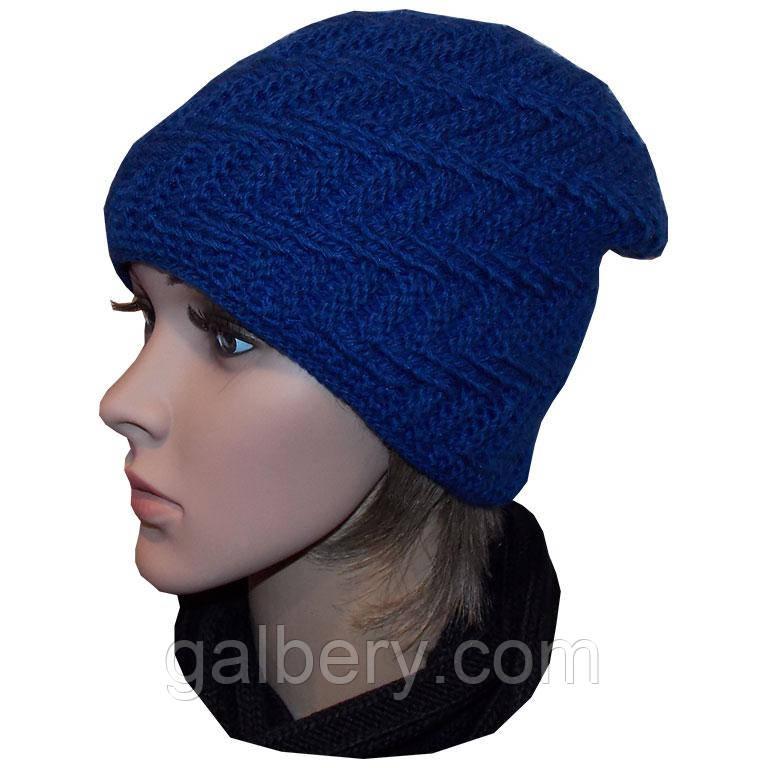 женская вязаная шапка носок утепленный вариант объемной ручной