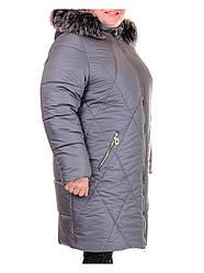 Женское пальто из плащевой ткани серое Валерия