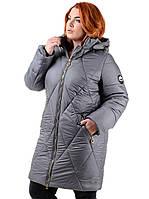 Женское пальто из плащевой ткани серое Есения