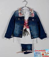 """Нарядный джинсовый костюм на девочку """"Роза"""", рост 92-116 cм."""