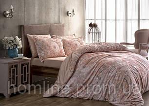 Постельное белье Tac сатин Digital Blanche розовое семейный размер