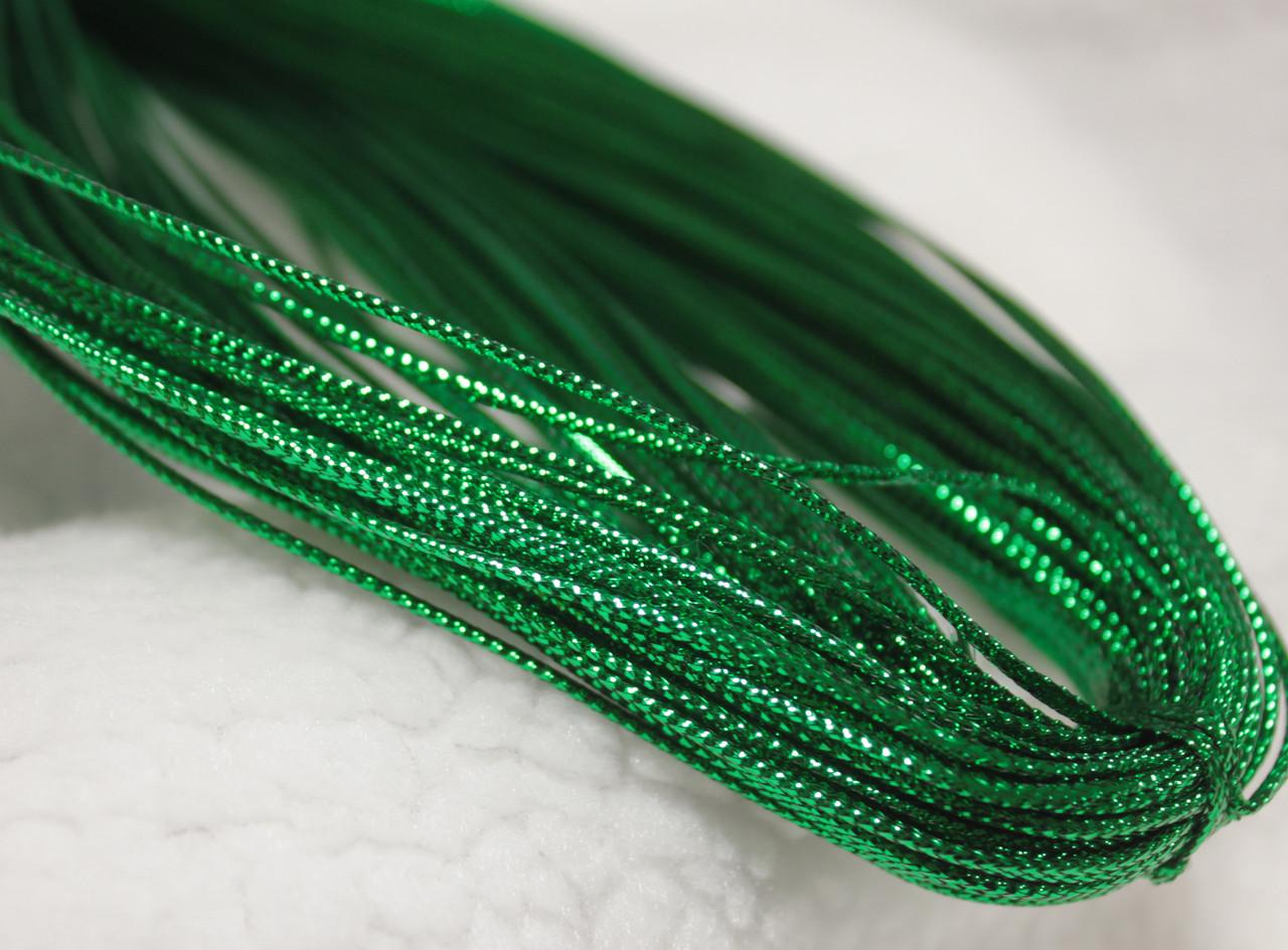 Шнур зеленый декоративный круглый люрекс (100м)