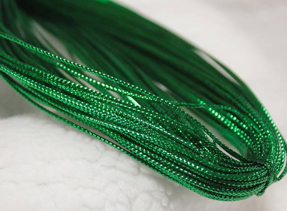 Шнур зеленый декоративный круглый люрекс (100м), фото 2