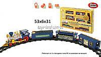 Железная дорога 0619 (24шт) на батарейках  муз.,  свет. эффекты,  поезд,  3 вагона,  в кор. 53*31*7см