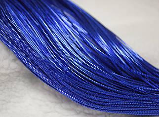 Шнур синий декоративный круглый люрекс (100м)