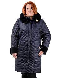 Женское пальто из плащевой ткани синее Ксения