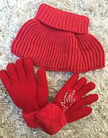 Комплект аксессуаров в красном цвете Перчатки теплые зимние с начесом и шарф-горлышко (на 7-10 лет)