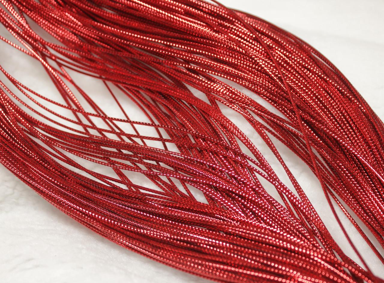 Шнур красный декоративный круглый люрекс (100м)