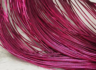 Шнур фуксия декоративный круглый люрекс (100м)