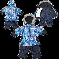 Детский зимний термокомбинезон: штаны и куртка на флисе и отстегивающейся овчине, р. 80, 86, 92, 98 РСЦ2