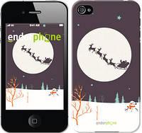 """Чехол на iPhone 4s Упряжка с новогодними оленями """"4189c-12-8079"""""""