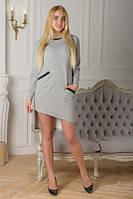 Платье теплое с длинным рукавом светло-серое София