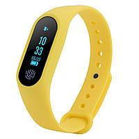 Фитнес трекер M2 желтый Bluetooth пульс, шагомер, напоминания, водонепроницаемый IP67 вес 7 гр.