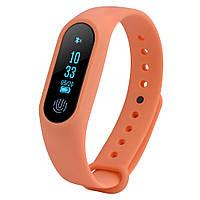 Фитнес трекер M2 оранжевый Bluetooth пульс, шагомер, напоминания, водонепроницаемый IP67 вес 7 гр., фото 1